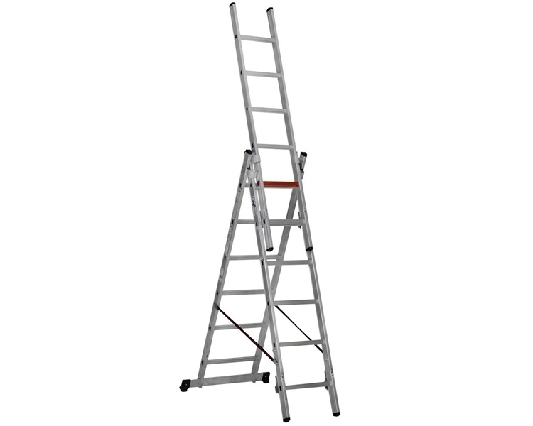 Three-section aluminum ladder VIRASTAR Triomax Pro